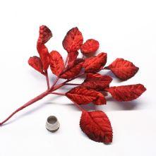 Vintage Red Tonal Velvet Rose Leaves